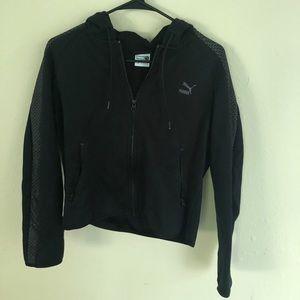 black puma zip up